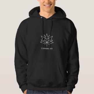 カナダ150の役人のロゴ-白い輪郭 パーカ