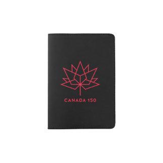 カナダ150の役人のロゴ-黒および赤 パスポートカバー