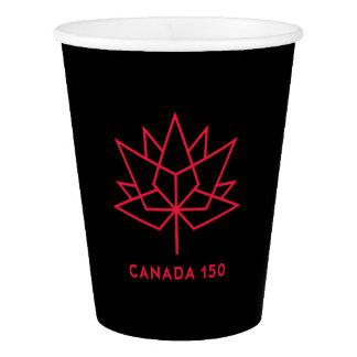 カナダ150の役人のロゴ-黒および赤 紙コップ