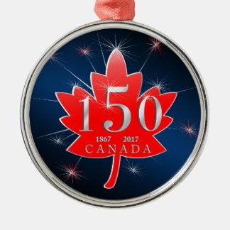 カナダ150の誕生祝いのカエデの葉 メタルオーナメント