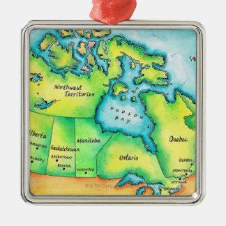 カナダ2の地図 メタルオーナメント