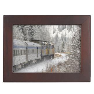 カナダ、アルバータ。 その間柵の雪の列車で ジュエリーボックス