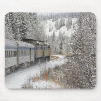 カナダ、アルバータ。 その間柵の雪の列車で マウスパッド