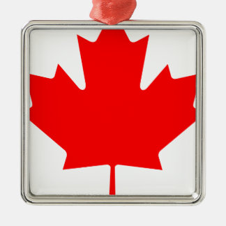 カナダ-カエデの葉 シルバーカラー正方形オーナメント
