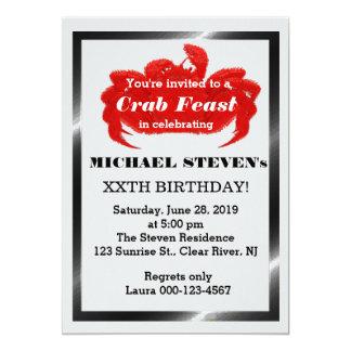 カニのシーフードのパーティーの誕生会の招待 カード
