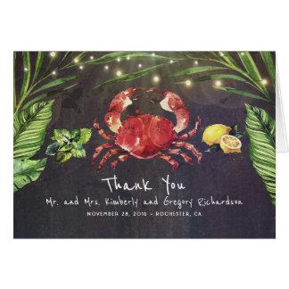 カニのビーチのやしは熱帯を感謝していしていますつけます カード
