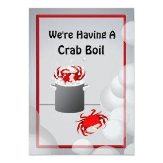 カニの沸騰夕食の招待状 カード