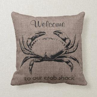 カニの海の生命バーラップの麻布の枕 クッション