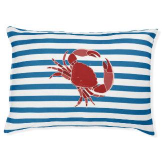 カニの青および白い横のストライプな犬のベッド ラージドッグベッド