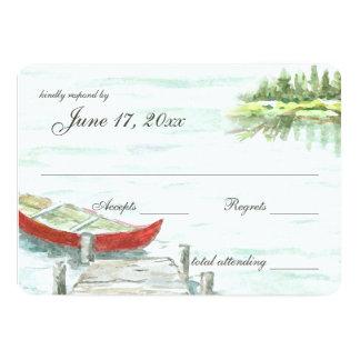 カヌーの応答のwatercolor湖 カード