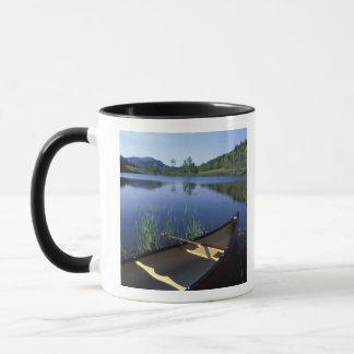 カヌーは少し長い池の海岸で休みます マグカップ