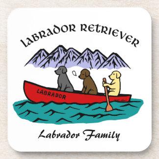 カヌーをこぐラブラドル・レトリーバー犬 コースター