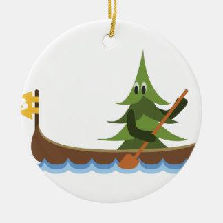 カヌーをこぐ松の木 セラミックオーナメント