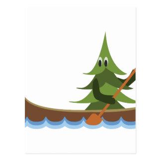 カヌーをこぐ松の木 ポストカード