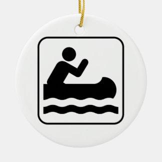カヌーをこぐ記号のオーナメント セラミックオーナメント