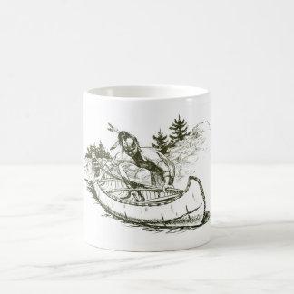 カヌーを持つ赤いインディアン コーヒーマグカップ