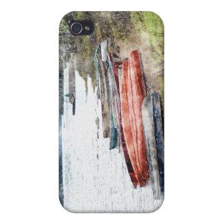 カヌー、カヤック及びボートの水彩画の芸術のiPhoneの場合 iPhone 4/4Sケース