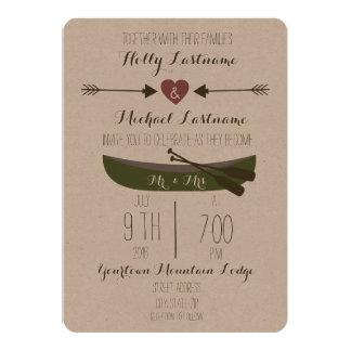 カヌー + 矢の素朴な結婚式招待状 カード