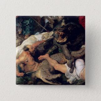 カバおよびワニの狩り、c.1615-16 5.1cm 正方形バッジ