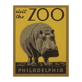 カバが付いているヴィンテージの動物園ポスターフィラデルヒィア ウッドウォールアート