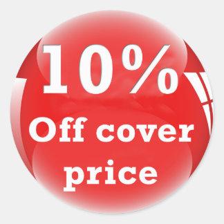 カバー価格の円形の光沢のあるステッカーを離れて10% (パーセント) ラウンドシール