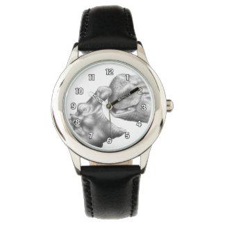カバ及び子牛の腕時計 腕時計
