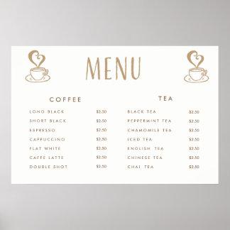 カフェのカフェテリアの価格メニューカスタムによって印刷されるポスター ポスター