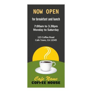 カフェのコーヒーメニュー店の黒いおよび緑の棚カード ラックカード