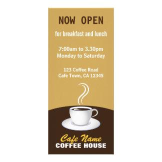 カフェのコーヒーメニュー店ベージュ色およびブラウンの棚カード パーソナライズラックカード