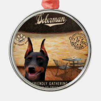 カフェのドーベルマン犬 メタルオーナメント
