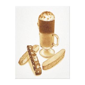 カフェのモカおよびBiscotti キャンバスプリント