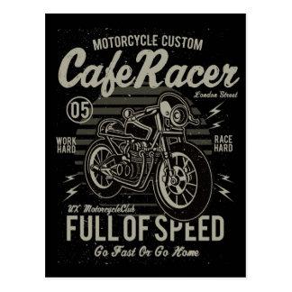 カフェのレーサーの仕事の堅い競争の懸命は速く行きますか、または起点に行きます ポストカード