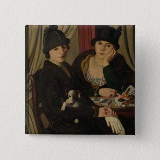 カフェの女性、c.1924 5.1cm 正方形バッジ