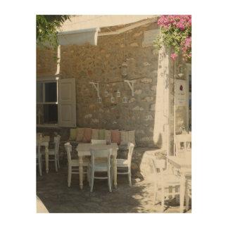 カフェの素朴なチャーム、11x14木キャンバス ウッドウォールアート
