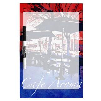 カフェの香りの歩道のカフェの赤く青いポップアートのデザイン ホワイトボード
