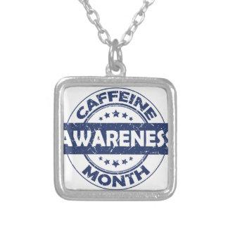 カフェインの認識度月-感謝日 シルバープレートネックレス