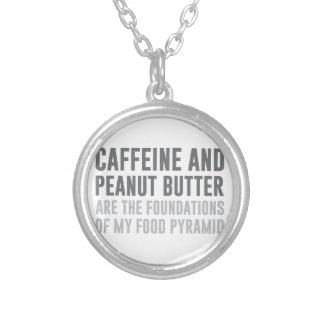 カフェイン及びピーナッツバター シルバープレートネックレス
