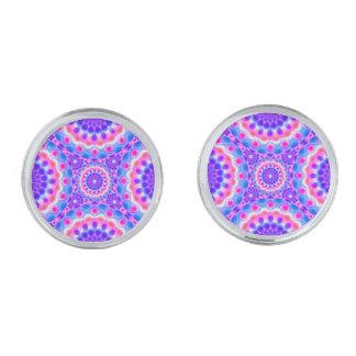 カフスボタンの曼荼羅のサイケデリックな視野 シルバー カフスボタン