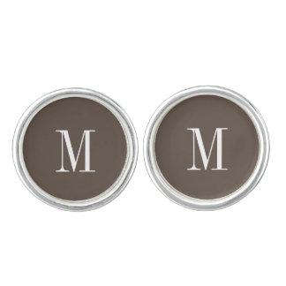 カフスボタン-灰色のモダンなイニシャル カフスボタン