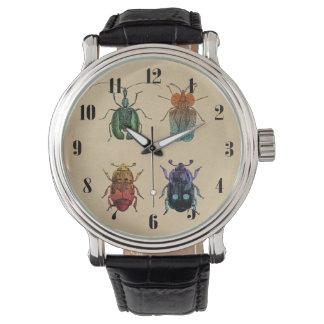 カブトムシのヴィンテージのイラストレーション 腕時計