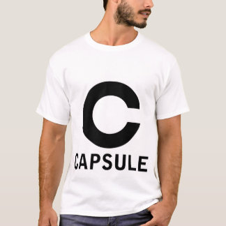 カプセルのロゴのティー(黒いグラフィックだけ、白いワイシャツ) Tシャツ