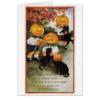 カボチャおよび猫のヴィンテージハロウィン グリーティングカード