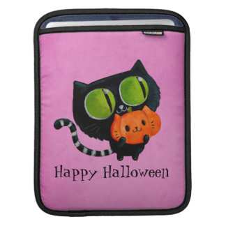 カボチャを持つハロウィンのかわいい猫 iPadスリーブ