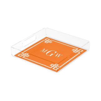 カボチャオレンジの空想のギリシャ人の鍵フレーム3Iのモノグラム アクリルトレー