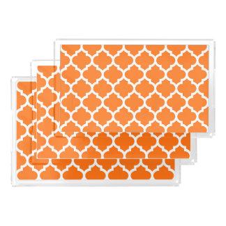 カボチャオレンジ白いモロッコのクローバーパターン#5 アクリルトレー