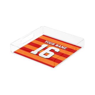カボチャオレンジ赤のチームジャージーのプレッピーなストライプ アクリルトレー