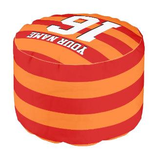 カボチャオレンジ赤のチームジャージーのプレッピーなストライプ プーフ