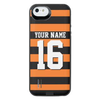 カボチャオレンジ黒いチームジャージーのプレッピーなストライプ iPhone SE/5/5sバッテリーケース