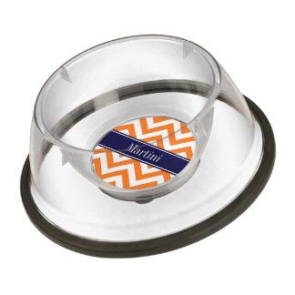 カボチャオレンジLgシェブロン海軍名前のモノグラム ペット用食器