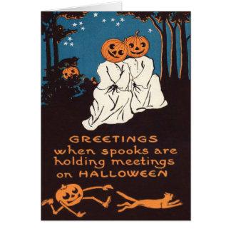 カボチャジャックOのランタンの幽霊の黒猫の木 カード